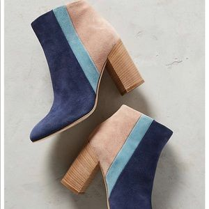 Anthropologie color block boots.